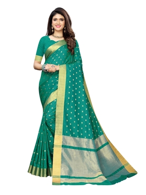 Turquoise woven chanderi silk saree with blouse