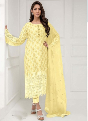 Yellow embroidered georgette salwar