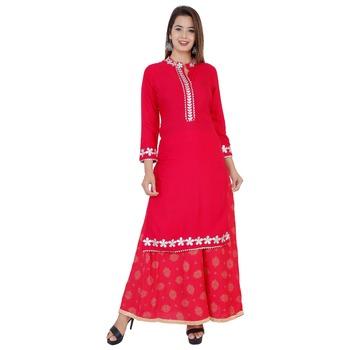 Red gotta work rayon kurti and skirt set
