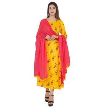 Yellow printed rayon kurti with dupatta