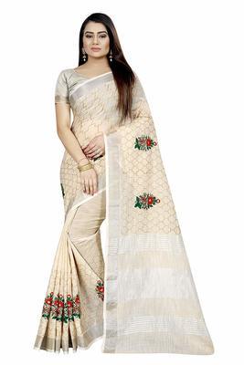 Cream Linen Cotton Embroider Work Silver Border Sari with Blouse