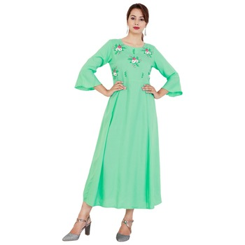 Light green embroideried rayon a-line kurti
