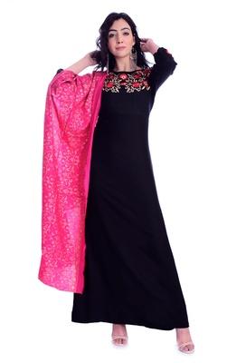 black embroideried rayon long kurti