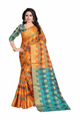 Women's Orange Banarasi Soft Silk Saree With Blouse