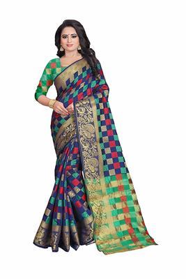 Women's Nevy Blue Banarasi Soft Silk Saree With Blouse