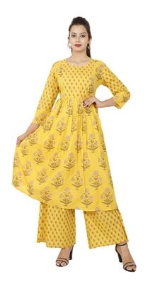 Yellow Floral Cotton Kurta Palazzo Set
