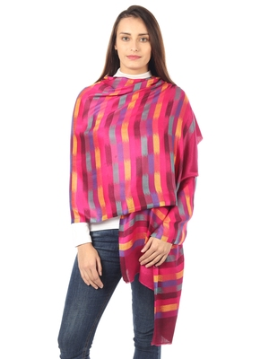 Super Fine Soft Women's Mudal Reversible Pashmina Zig Zag Printed Scarf, Stole & Wrap with Hanger