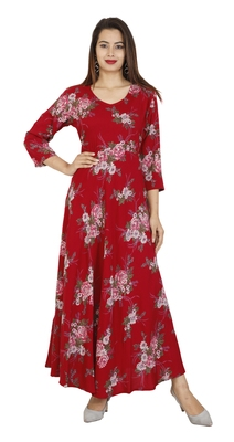 Red Floral Rayon Printed Gown