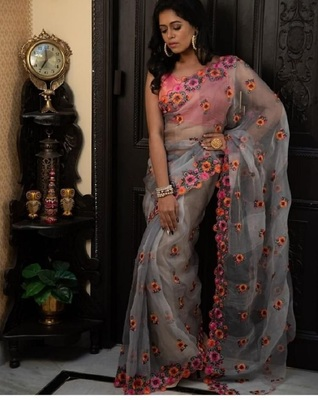Grey embroidered satin saree with blouse