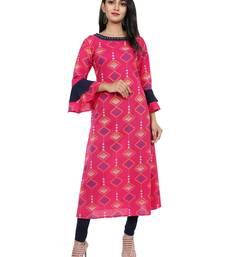 Pink Printed Cotton Anarkali Kurta