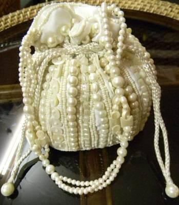 White Beadwork Potli Bag