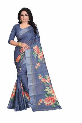 Women's Blue Rose Print cotton Saree