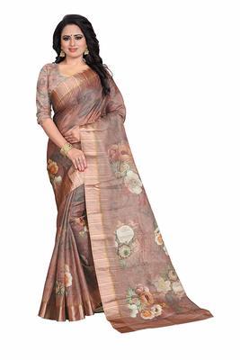 Women's Brown Rose Print Silk Saree