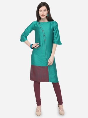 Teal green Plain Rayon Straight Kurti