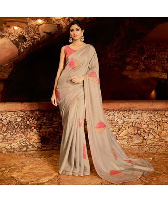 Beige embroidered Silk blend saree with blouse