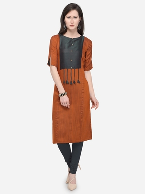 Orange Plain Rayon Straight Kurti