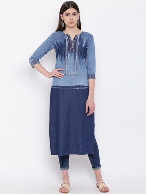 Blue Embroidered  Straight Kurti