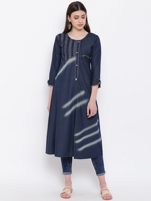 Blue Embroidered  Straight Kurti