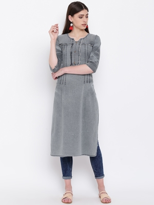 Grey Embroidered  Straight Kurti