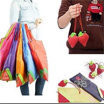 Shree Shyam Products Reusable Strawberry Shopping Bag Ecofriendly Nylon Set Of 12 Pcs Big Size Assorted Color