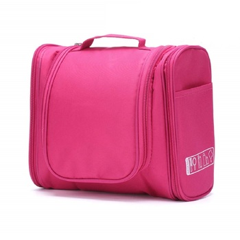 Shree Shyam Products Pink Hanging Waterproof Travel Cosmetic Bag Oxford Matty Set Of 1 Pcs Pouch Potable Large Capacity