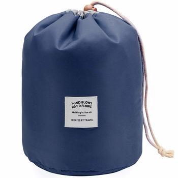 Shree Shyam Products Blue Round Pouch Bucket Barrel Shaped Cosmetic Bag Nylon Matty Set Of 1 Pcs Big Size