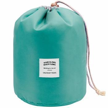 Shree Shyam Products Green Round Pouch Bucket Barrel Shaped Cosmetic Bag Big Size Nylon Matty Set Of 1 Pcs