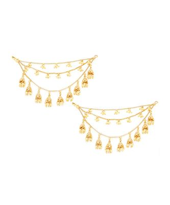 Gold Plated Triple Layer Long Chain Jhumki Hair Chain Accessories For Earrings For Women