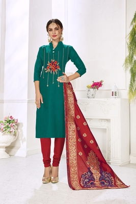Rama Hadloom Cotton Embroidered Unstitched Dress Material