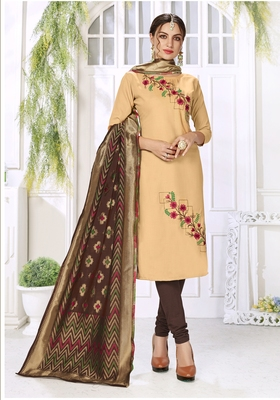 Cream Hadloom Cotton Embroidered Unstitched Dress Material