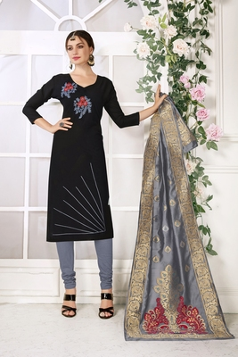 Black Hadloom Cotton Embroidered Unstitched Dress Material