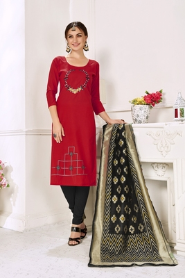 Red Hadloom Cotton Embroidered Unstitched Dress Material
