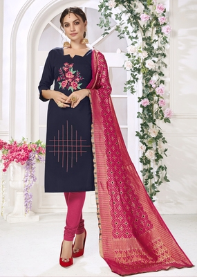 Navy Blue Hadloom Cotton Embroidered Unstitched Dress Material