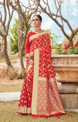 Red Pure Silk Heavy Zari Work Traditional Saree