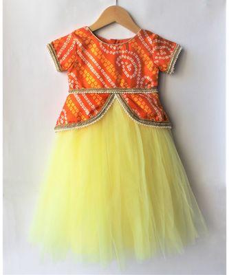 Many Frocks & girls ethnic bandhani gown - yellow & orange