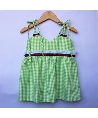 Many Frocks & strappy checks summer baby frock- green