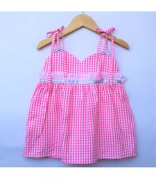 Many Frocks & strappy checks summer baby frock- pink
