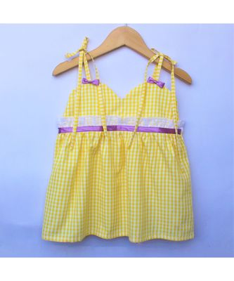 Many Frocks & strappy checks summer baby frock- yellow