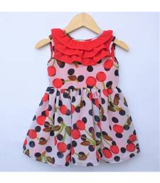 Many Frocks & cherry motif summer baby frock - Red/White