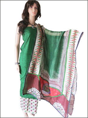 Supernet rangrez dupatta with green cotton jacquard top and cotton bottom