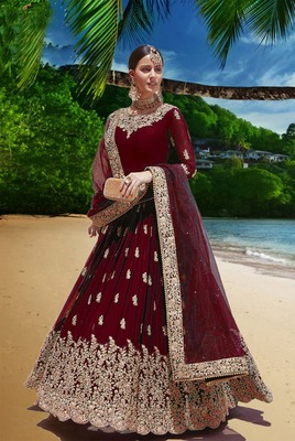 maroon embroidered faux georgette semi stitched aanarkali suits