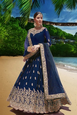 blue embroidered faux georgette semi stitched aanarkali suits