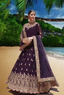 purple embroidered faux georgette semi stitched aanarkali suits