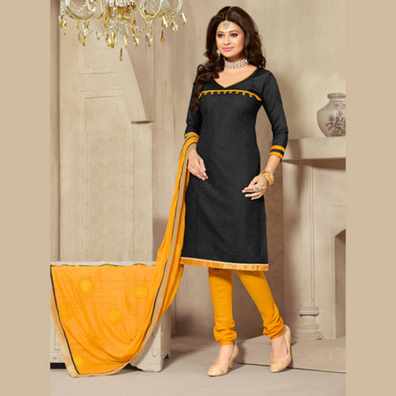 e13916bc22 Black and Yellow Coloured Embroidered Jute Silk Unstitched Dress Material  ...