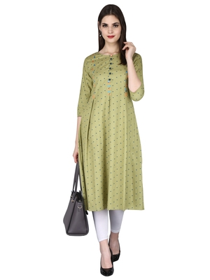 Green embroidered cotton long-kurtis