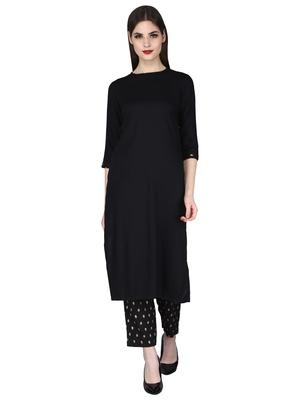Black printed rayon long-kurta Set