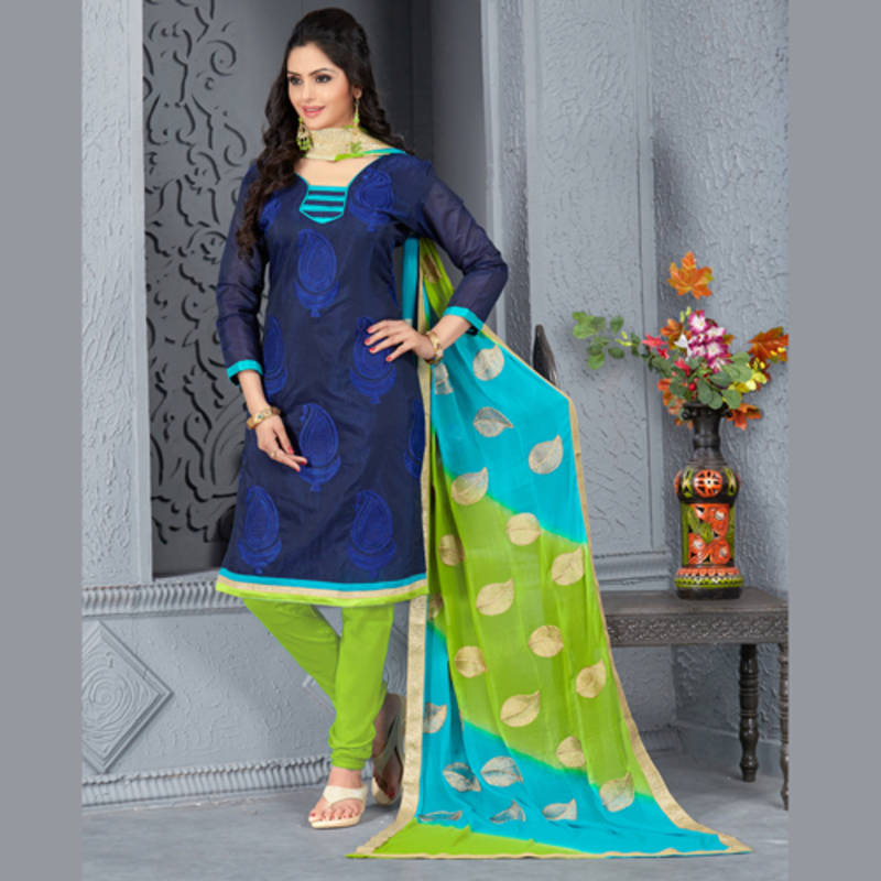 e865f744aa Navy Blue embroidered Chanderi and Cotton unstitched salwar with ...
