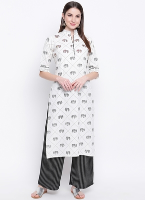 White PrintedCotton Blend Stitched Straight Palazoo Kurta sets
