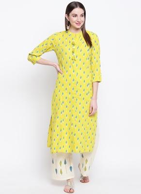 Yellow PrintedCotton Blend Stitched Straight Palazoo Kurta sets