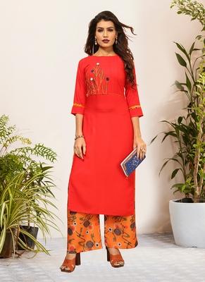 Red Viscose Embroidered Stitched Straight Palazoo Kurta sets